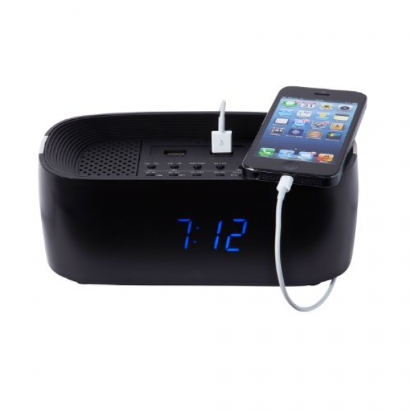 ... Alarm Clock Radio Speaker with Dual USB Phone Charging Points - Black