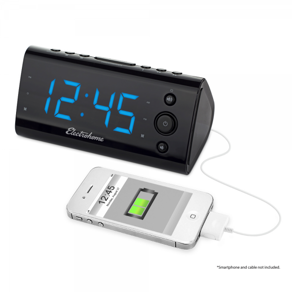 » Clock Radios » Electrohome Alarm Clock Radio with USB Charging ...