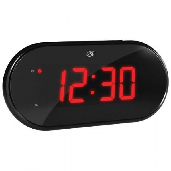 GPX C253B Dual Alarm Clock Radio, 1.2 Red LED Display, Station Memory ...