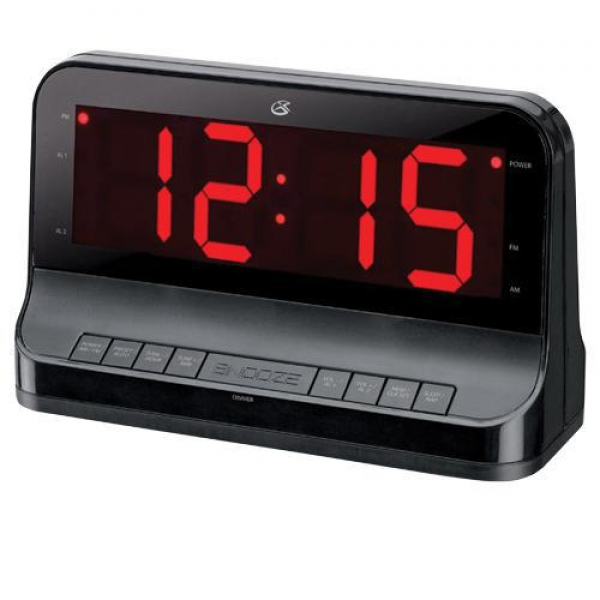 GPX C502B Dual Alarm AM/FM Clock Radio, 1.8 Red LED Display, Nap ...