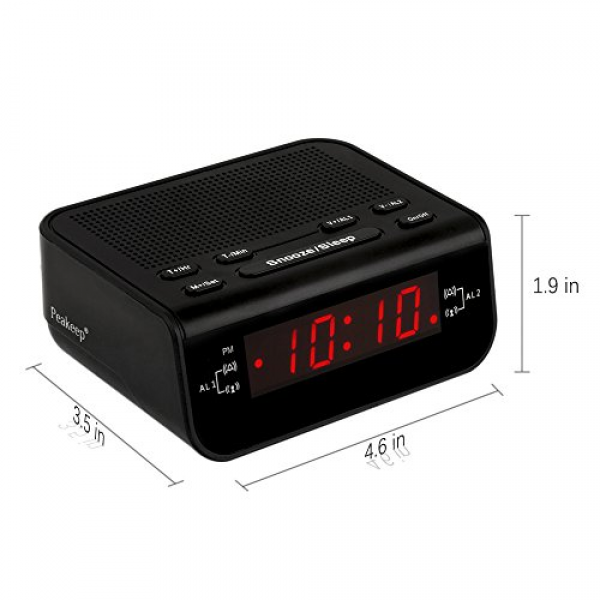 ... Alarm Clock Radio With Dual Alarm, Snooze, Sleep Timer And Nice Red