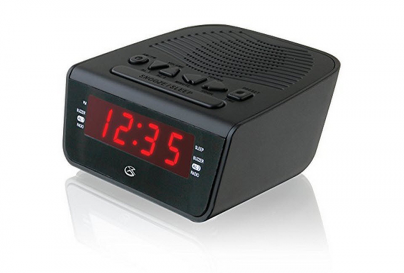 AM/FM Radio Dual Alarm Clock Red LED Digital Display Vintage Black 20 ...