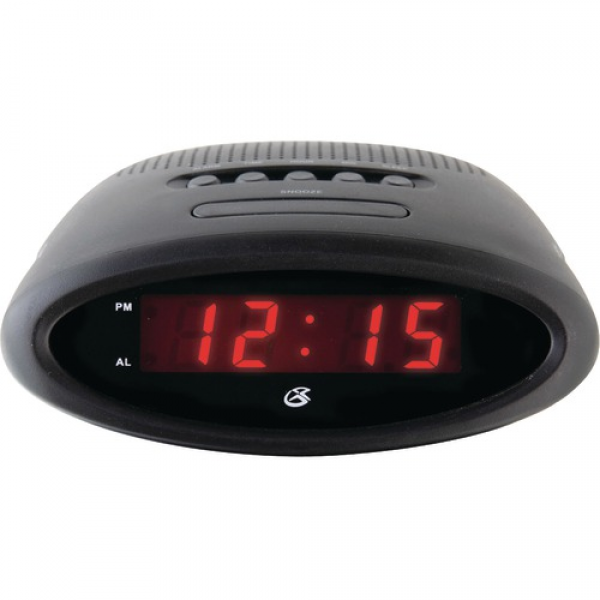 RED LED DISPLAY AM/FM RADIO SINGLE ALARM WAKE TO MUSIC OR ALARM ...