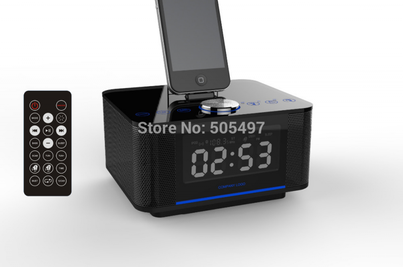 Station FM Radio+Alarm+Clock+Charger+Speaker+bluetooth+remote control ...