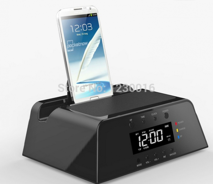 Alarm Clock Docking Station Bluetooth Speaker FM Radio Remote Control ...