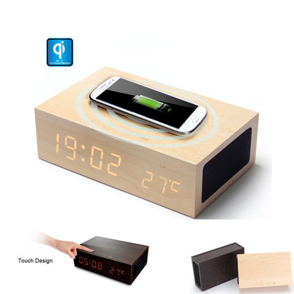 Qi Wireless Charger Transmitter + Bluetooth Speaker + Alarm Clock ...