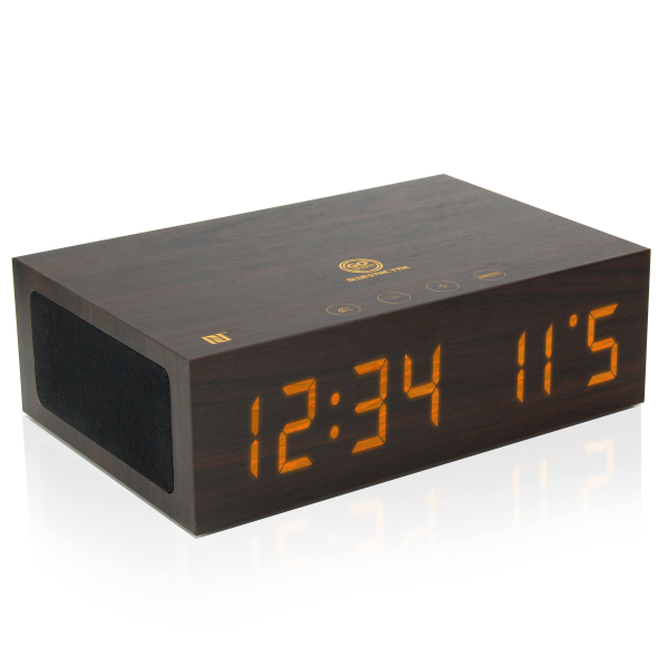 Bluetooth Wireless Speaker Wooden Alarm Clock w NFC Pairing LED Time ...