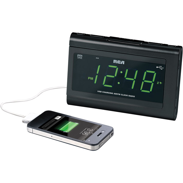 RCA AM FM Dual Alarm Clock Radio, No Worry Battery Backup, iPhone iPad ...