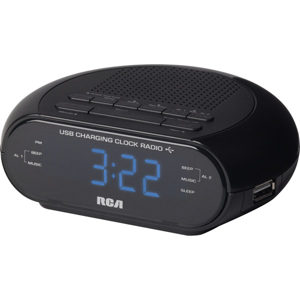 RCA Black Dual Alarm Clock Radio 0 6 Display USB Port New in Box Free ...