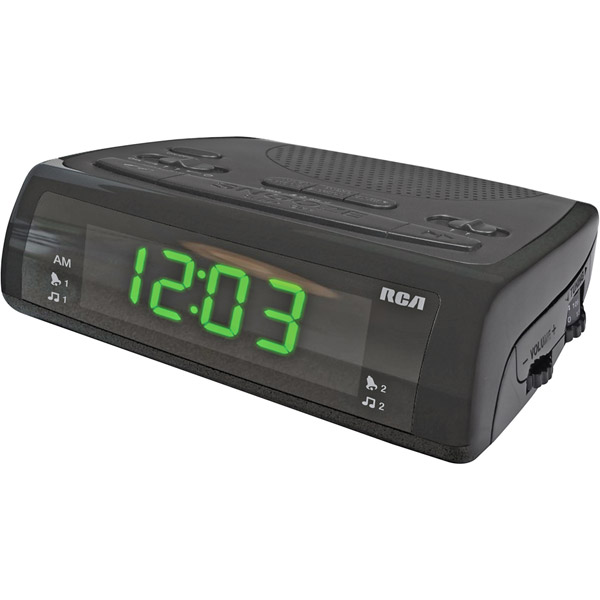 RCA BLACK AM FM DUAL ALARM CLOCK RADIO with BATTERY BACKUP, SNOOZE and ...