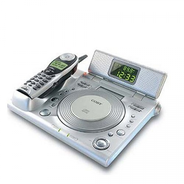 CD-RA 195 AM/FM Alarm Clock Radio w/CD Player & 2.4 GHz Cordless Phone ...