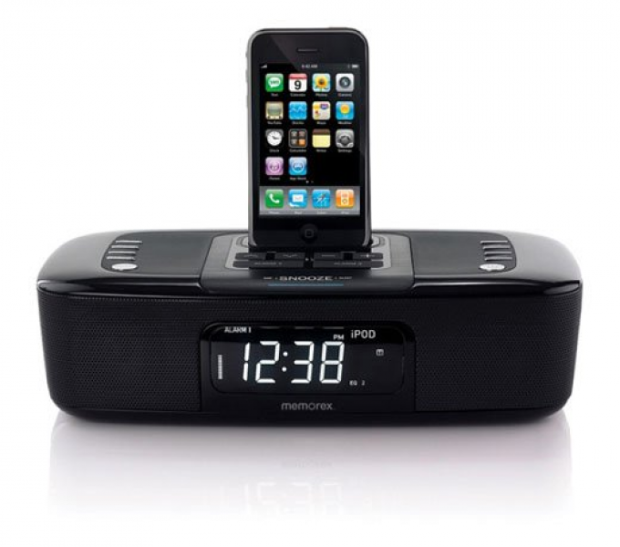 MI4290PBLKBZ, Audio, Memorex Dual Alarm Clock Radio com Built-In Apple ...