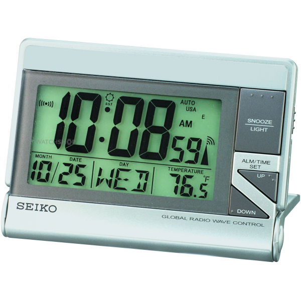 Seiko Clocks Radio Controlled LCD Desk Alarm Clock (QHR016S) - WATCH ...