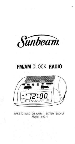 SUNBEAM AM/fM AlArM ClOCK rADIO 89014 Manual | ManualsOnline.com