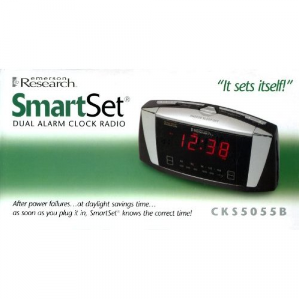 Emerson Radio CKS5055B SmartSet Dual Alarm Clock Radio with Large LED ...