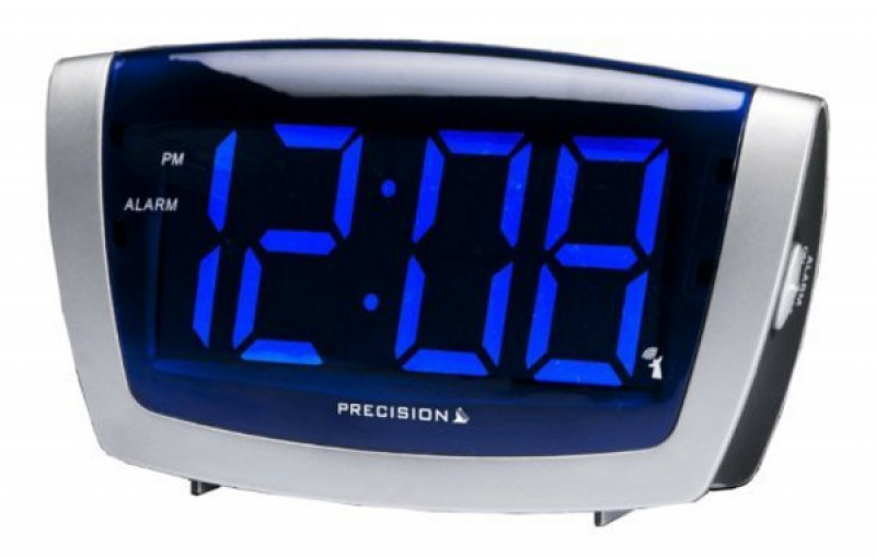 ... Radio Controlled Blue LED Clock Large Display Electric Alarm Clocks