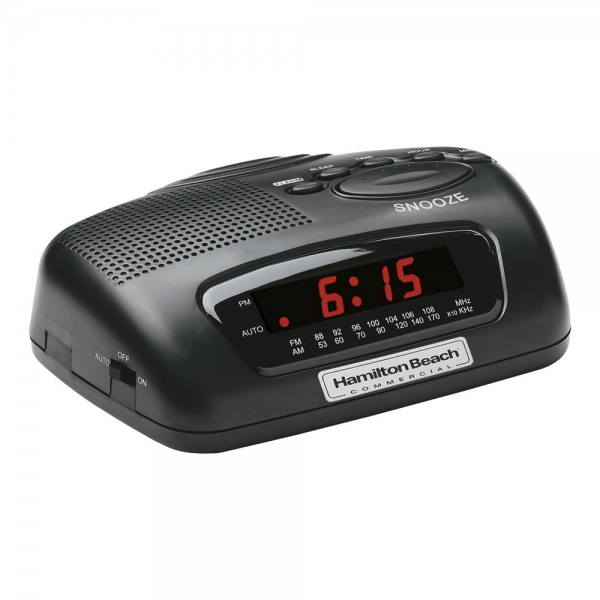 Hamilton Beach HCR329 AM/FM Black Alarm Clock Radio - 120V, 5W