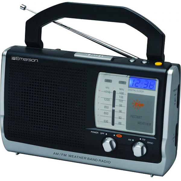 Emerson Portable AM/FM Sound/Instant Weather Radio With Digital Clock