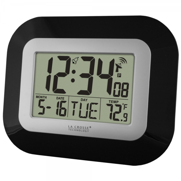 WT-8005U-B Atomic Digital Wall Clock with IN Temp and Date