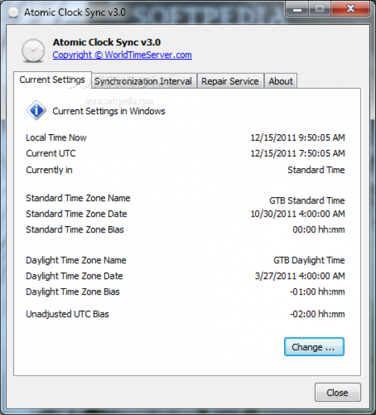 Atomic Clock Sync - The main window of Atomic Clock Sync allows you to ...