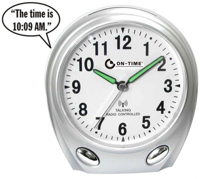 Atomic Talking Alarm Clock with Time, Day, Date and Year