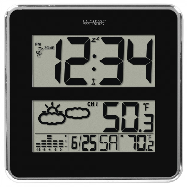 512B-811 Large Digit Atomic Clock with OUT Temperature and Forecast