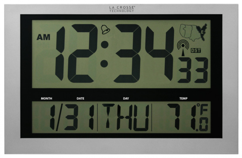 ... Technology Jumbo Atomic Digital Clock Large 4 Time Display | eBay