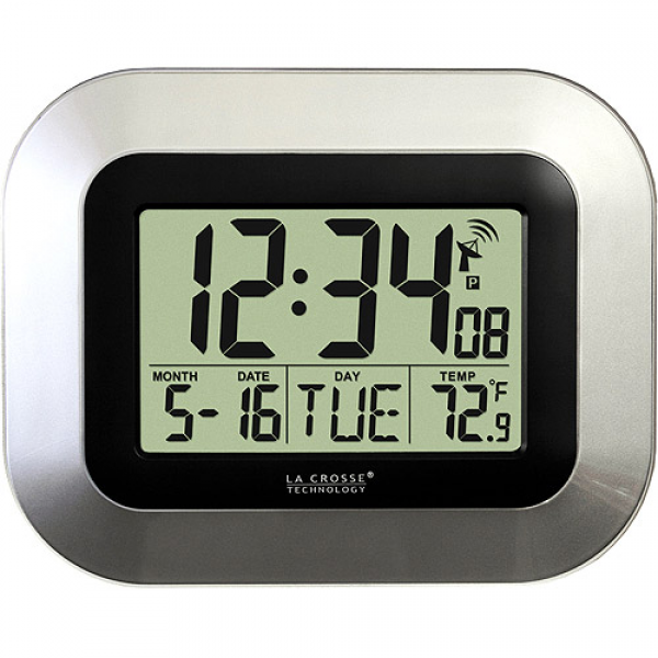 ... Technology Atomic Digital Wall Clock with Temperature Display, Silver
