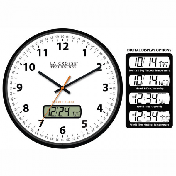 Analog Atomic Radio Controlled Time Wall Clock at Brookstone—Buy Now ...