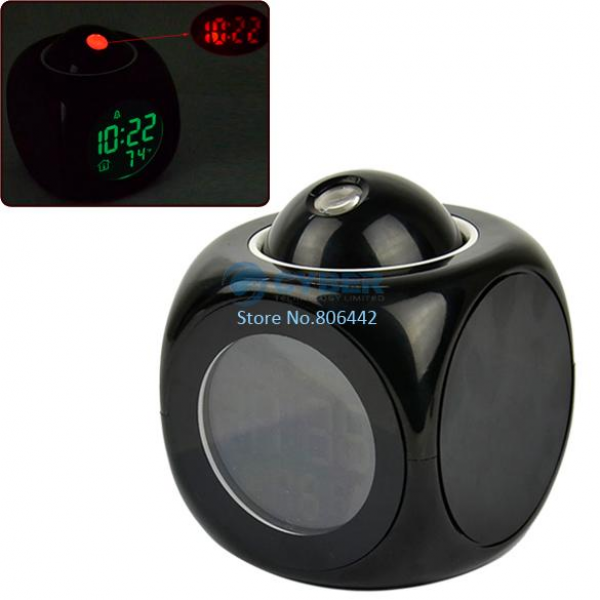 Clock Talking Projection Voice Sound Controlled Alarm Clock, Desktop ...