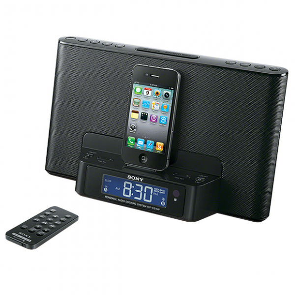sony dock clock radio for iphone ipod iphone alarm clocks www top clocks com. Black Bedroom Furniture Sets. Home Design Ideas