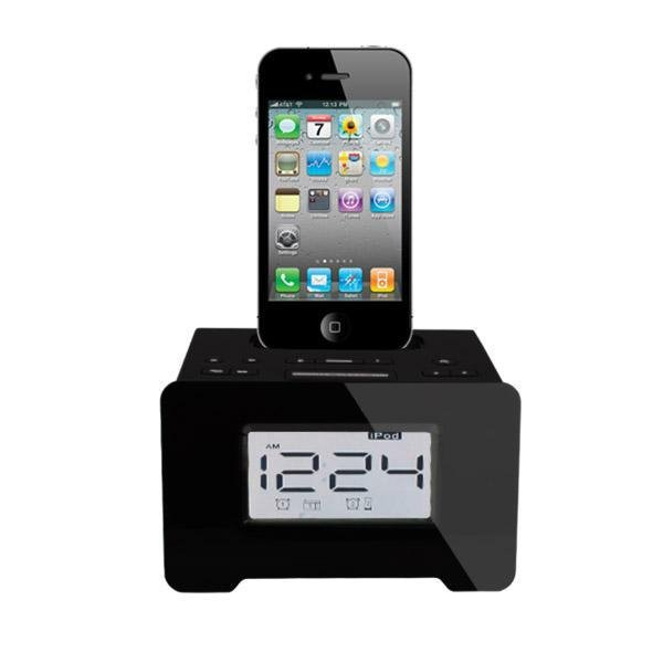 cool shape iphone dock station speaker with alarm clock FM radio