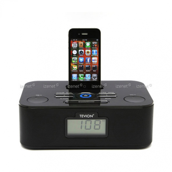 Details about iPhone iPod Station MP3 Dock with FM Radio Clock Alarm