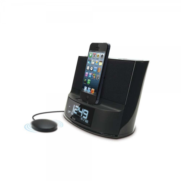iLuv Dual Alarm Clock Speaker + Bed Shaker & Lightning Dock for iPhone ...