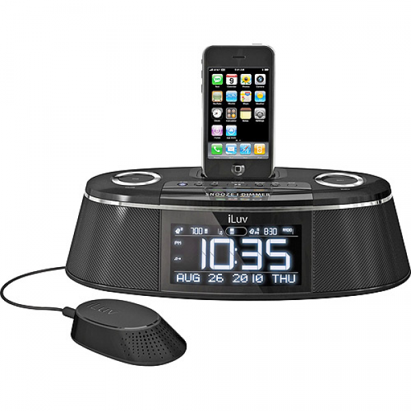 iLuv Dual Alarm Clock w/ iPod/iPhone Dock and Speaker/Bed Shaker ...