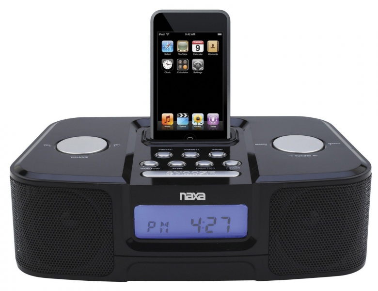 ... NAXA NI-3103A Alarm Clock Radio Ipod Iphone Docking Station AUX Input