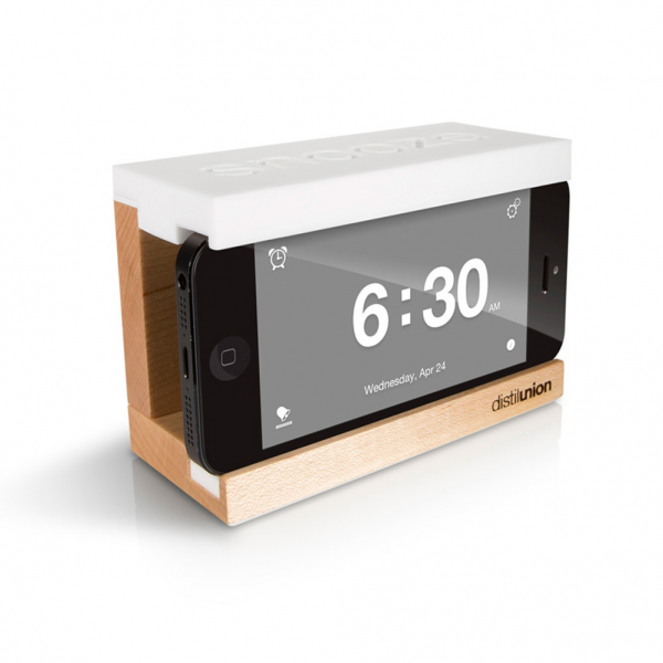 Snooze Wood iPhone Alarm Dock Stand for iPhone with Clock App