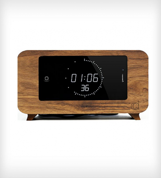 Walnut Alarm Clock iPhone Dock by C-Dock on Scoutmob Shoppe. A ...