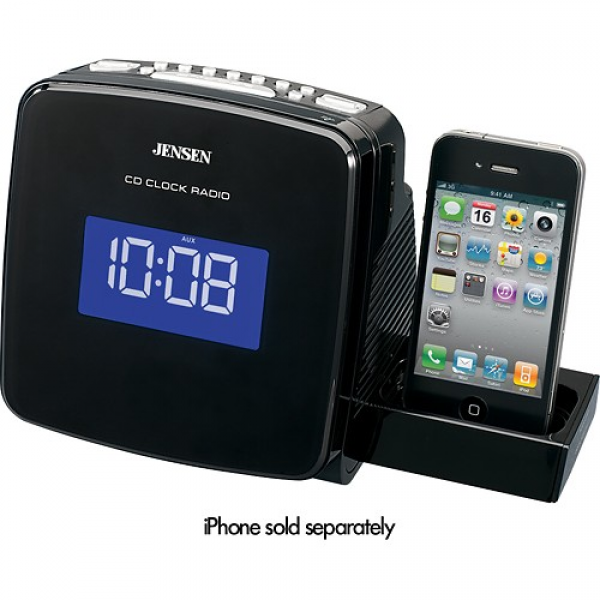 Jensen Digital CD Clock Radio for Apple iPod and iPhone JIMS-215I ...