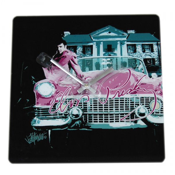 Elvis Presley Wall Clock Square Pink Car Style