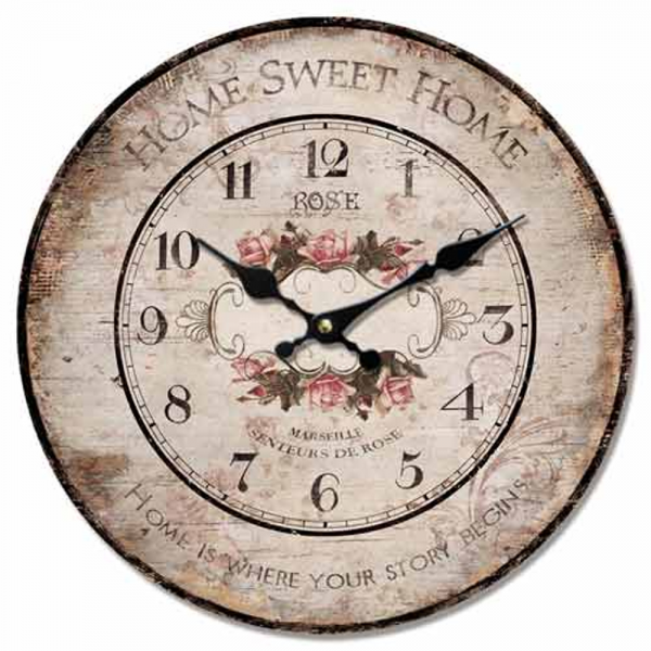 about WALL CLOCK SHABBY CHIC DISTRESSED WOOD ROUND HOME SWEET HOME ...