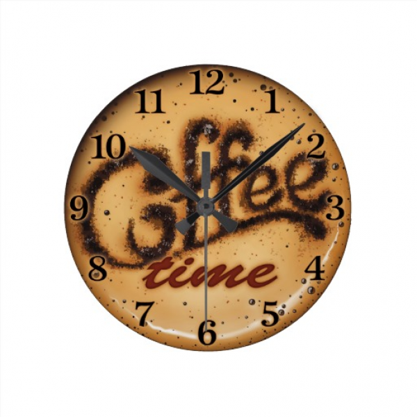 Coffee time wall clock decorative wall clocks www top clocks com - Coffee themed wall clocks ...
