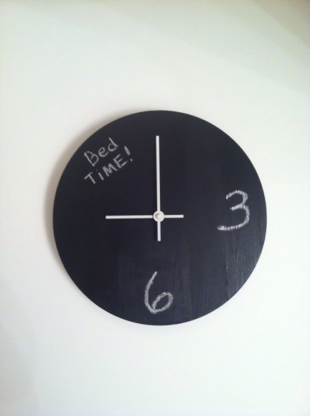 Chalkboard Wall Clock by KlockedInDallas on Etsy, $35.00 would be good ...