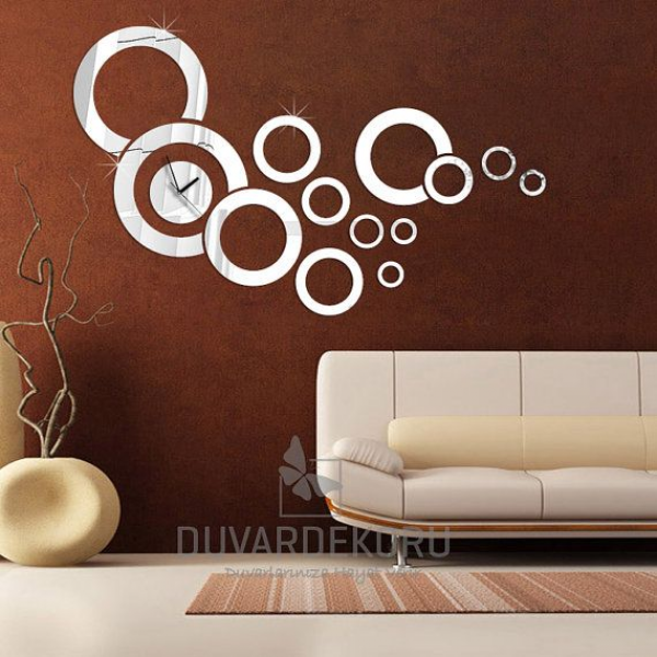 Acrylic Modern Mirrors Wall Clock Home Decoration's Rings Mirror