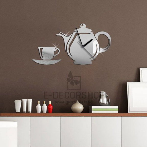 Acrylic Wall Mirror Clock for Kitchen and Living by EDecorShop, $45.99