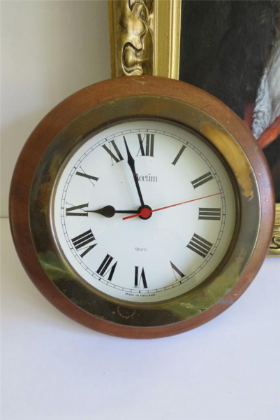 Large Antique Style Acctim Ships Wooden Wall Clock Quartz