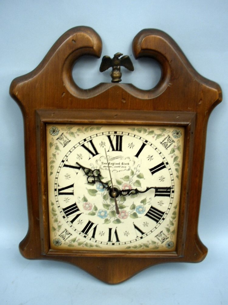 New England Clock Company Early American Wood Quartz Wall Clock | eBay