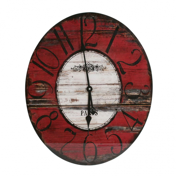 Oval Glass Wall Clock Red