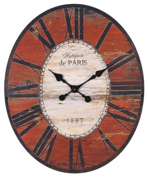 Weathered Red Oval Wall Clock - Traditional - Wall Clocks - atlanta ...