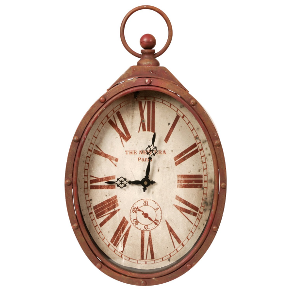 Red Oval Pocket Watch Clock for Wall
